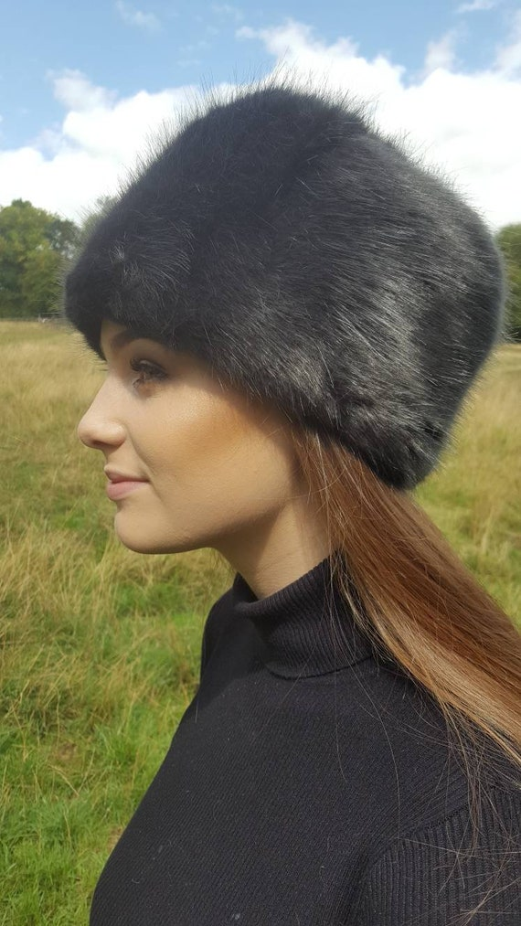 Super Luxury Dark Grey Faux Fur Hat with Option to add a  be4af7e37f4
