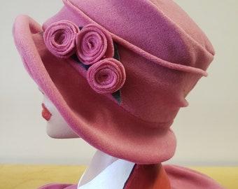 Dusky Pink Fleece Hat-Polar Fleece Lining-Downton Abbey Hat-Cloche Hat-Womens Fleece Winter Hat-1930's-Ladies Winter Hat-Pink Fleece Hat