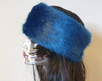 Sapphire Blue Luxury Faux Fur Headband / Neckwarmer / Earwarmer-Head Wrap-Fur Head Wrap-  Handmade in Lancashire England