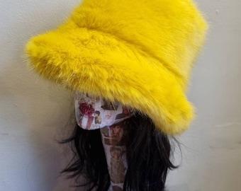 Golden Mustard Yellow Luxury Faux Fur Bucket Hat-Festival Hat-Fur Hat-Fake Fur Hat-Rave Hat-Mustard Fur Hat- Fuzzy Bucket Hat-Gold Bucket