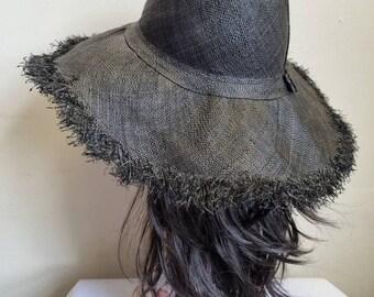 Black Boho Large Brimmed Raffia Sun Hat-Black Sun Hat-Raffia Hat-Straw Hat-Floppy Sun Hat- Boho Sun Hat- 60's Sun Hat