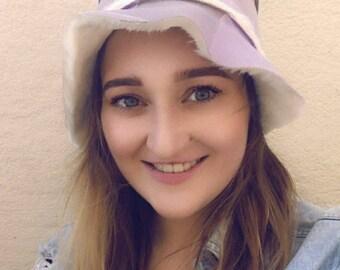 Reversible Bucket Hat- Lilac Faux Suede- Faux Fur Bucket Hat-Fur Bucket Hat-Vegan Hat-Festival Hat-Floppy Hat