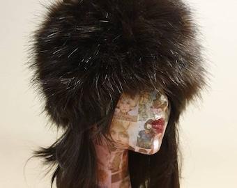 Lovely Chocolate Luxury Faux Fur Hat with Polar Fleece Lining-Fur Hat-Fake Fur Hat-Winter Hat-Long Fur Hat-Cossack Hat-Brown Fur Hat