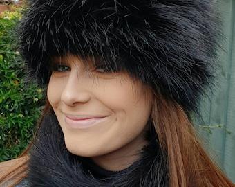 Lovely Long Black Luxury Faux Fur Hat with Polar Fleece Lining-Fur Hat-Fake Fur Hat-Winter Hat-Long Fur Hat-Cossack Hat-Black Fur Hat