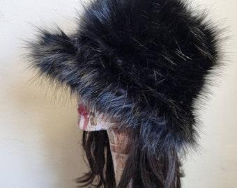 Black Faux Fur Fuzzy Bucket Hat-Festival Hat-Floppy Hat-Fur Hat-Fake Fur Hat-Rave Hat- Black Bucket Hat-Black Fur Hat-vegan friendly hat