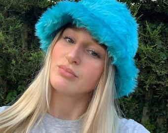 Turquoise Blue Faux Fur Bucket Hat-Festival Hat-Floppy Hat-Fur Hat-Fake Fur Hat-Rave Hat-Fur Hat- Blue Fur Hat- Furry Bucket Hat