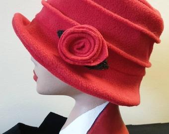 Red Fleece Hat Lined with Polar Fleece-Downton Abbey Hat-Womens Fleece Hat-Womens Fleece Winter Hat-1930's-Vintage Hat-Ladies Winter Hat