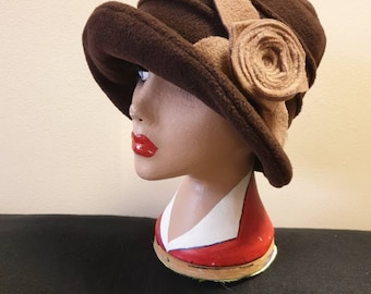 Chocolate Brown Fleece Cloche Hat with Camel Flower-Fleece Lining-Downton Abbey Hat-Womens Fleece Hat-Ladies Winter Hat-Brown Polar Fleece