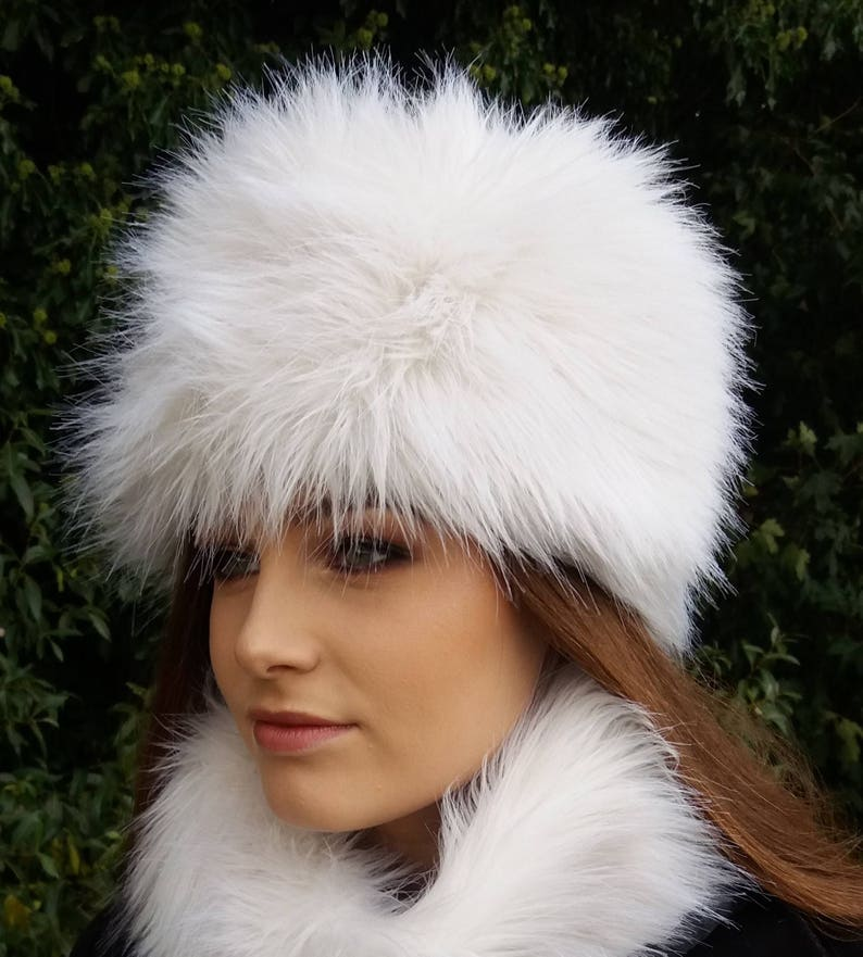 4a4f2d75b Off White Faux Fur Hat Russian Style with Cosy Polar Fleece Lining