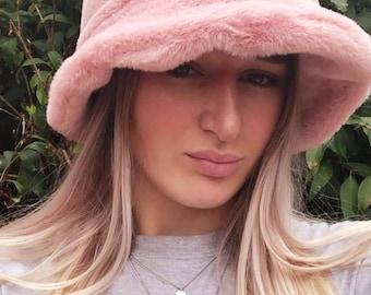 Baby Pink Short Faux Fur Bucket Hat-Festival Hat-Floppy Hat-Fur Hat-Fake Fur Hat-Rave Hat-Fur Hat- Pink Fur Hat- Furry Bucket Hat-Pale pink