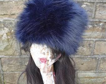 Midnight Blue Luxury Faux Fur Hat with Polar Fleece Lining-Fur Hat-Fake Fur Hat-Winter Hat-Long Fur Hat-Blue Fur Hat-Navy Blue Fur