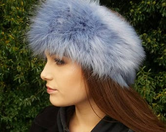 Cornflower Blue Faux Fur Headband-Neckwarmer-Earwarmer-Head Wrap-Fur Head Wrap-Handmade in Lancashire England