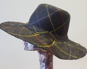 Black Tartan Weave Lovely Wide Brimmed Raffia Hat