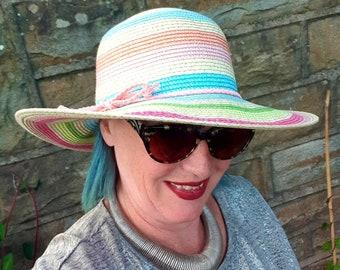Multi Coloured and Glittery Rainbow Sun Hat.