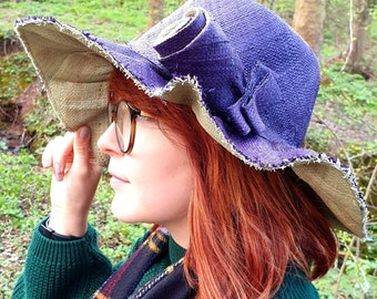 Lovely Wide Brimmed Raffia Hat in Navy Blue  and Pale Green with Flower Detail