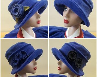Royal Blue Fleece Hat-Polar Fleece Lining-Downton Abbey Hat-Womens Fleece Hat-Womens Fleece Winter Hat-1930's-Ladies Winter Hat-Blue Fleece