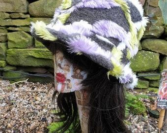 Unique Faux Fur Bucket Hat-Festival Hat-Floppy Hat-Fur Hat-Fake Fur Hat-Rave Hat-Purple Fur-Green Fur