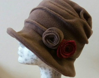 Handmade Fudge Coloured Fleece Cloche Hat with Flower Detail