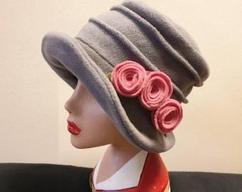 Light Grey Fleece Hat-Polar Fleece Lining-Downton Abbey Hat-Cloche Hat-Womens Fleece Winter Hat-1930's-Ladies Winter Hat-Grey Fleece Hat
