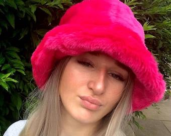 Shocking Pink Faux Fur Bucket Hat-Festival Hat-Floppy Hat-Fur Hat-Fake Fur Hat-Rave Hat-Pink Fur Hat- Fuzzy Bucket Hat- Pink Bucket Hat