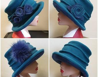 Teal Green Fleece Hat Lined with Polar Fleece-Downton Abbey Hat-Womens Fleece Hat-Womens Fleece-Green Fleece-Teal Fleece-Teal Hat-Green Hat