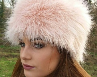 Beautiful Pale Pink Luxury Faux Fur Hat-Cosy Polar Fleece Lining-Ladies Winter Hat-Fake Fur Hat-Faux Fur Hat-Fur Hat-Fleece Hat-Winter Hat
