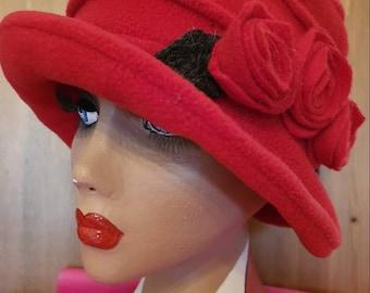 Cosy Flower Trimed Red Fleece Hat-Polar Fleece Lining-Downton Abbey Hat-Cloche Hat-Womens Fleece Winter Hat-1930's-Ladies Winter Hat-1920's