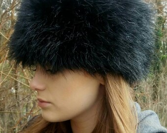 Black Faux Fur Russian Style Hat.