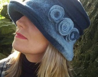 Shades of Dark Blue Felted Wool Hat With Cosy Fleece Lining and Flower Detail