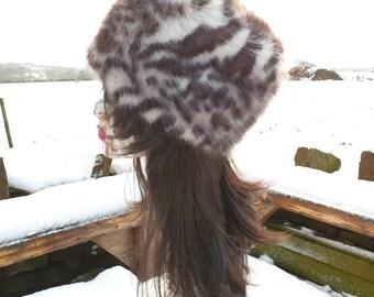 White Leopard Faux Fur Hat-Russian Style Hat-Polar Fleece Lining-Ladies Winter Hat-Faux Fur-Fur Hat-Winter Hat-Fleece Hat-Polar Fleece Hat