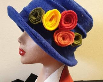 Royal Blue Fleece Hat Lined with Polar Fleece-Downton Abbey Hat-Womens Fleece Hat-Womens Fleece Winter Hat-1930's-Vintage Hat
