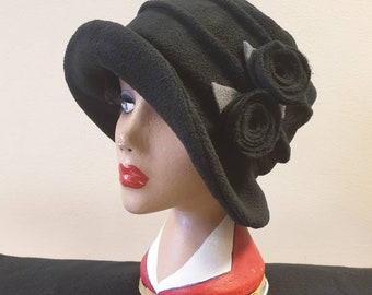 Black Fleece-Cloche Hat with Black Flower Detail-Polar Fleece Lining-Downton Abbey Hat-Womens Fleece Winter Hat-1930's-Ladies Winter Hat