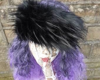 Hollywood Black Faux Fur Headband- Neckwarmer- Earwarmer -Black Fur Headband-Black Fur-Black Fur Headband-Head Wrap-Fur Head Wrap