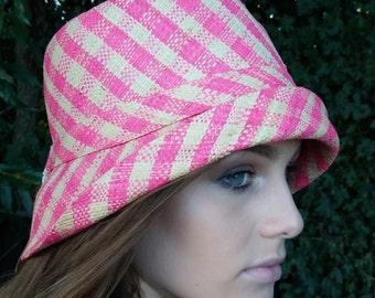 Pink Check Raffia Cloche 20's Style Sun Hat