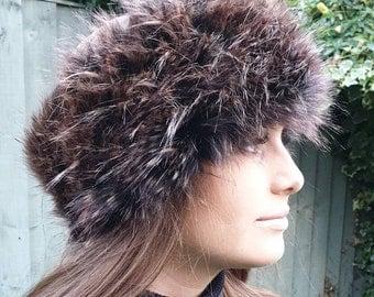 Peacock Faux Fur Headband-Neckwarmer / Earwarmer-Head Wrap-Fur Head Wrap-Handmade in Lancashire England