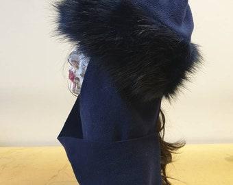 Frieda Scarf Hat-Navy Faux Fur Hat with Navy Fleece Top and Long Fleece Sides- Navy Fur Hat-Midnight Blue- Full Polar Fleece Lining