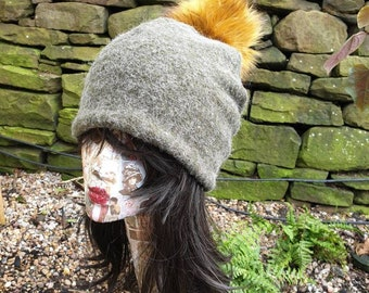 Khaki Wool Blend Slouchy Hat with Large Mustard Pom Pom. Fully lined with Polar Fleece