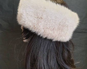 Soft Creamy Shades Faux Fur Headband-Neckwarmer-Earwarmer-Head Wrap-Fur Head Wrap-Cream Fur-Beige Fur-Handmade in Lancashire England