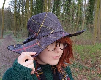 Black Tartan Weave Lovely Wide Brimmed Raffia Hat