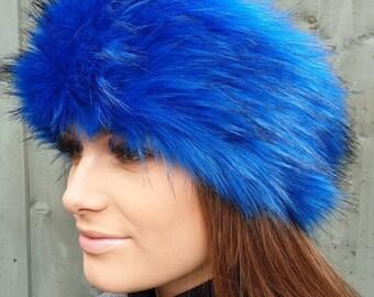 Royal Blue Luxury Faux Fur Headband / Neckwarmer / Earwarmer-Head Wrap-Fur Head Wrap- Handmade in Lancashire England