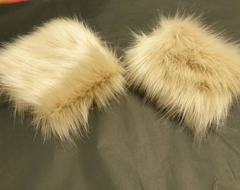 A Pair of Beautiful Luxury Faux Fur Cuffs in Caramel- Faux Suede Lining and Elasticated at One End-Faux Fur Cuffs-Fluffy Cuffs-Beige Fur