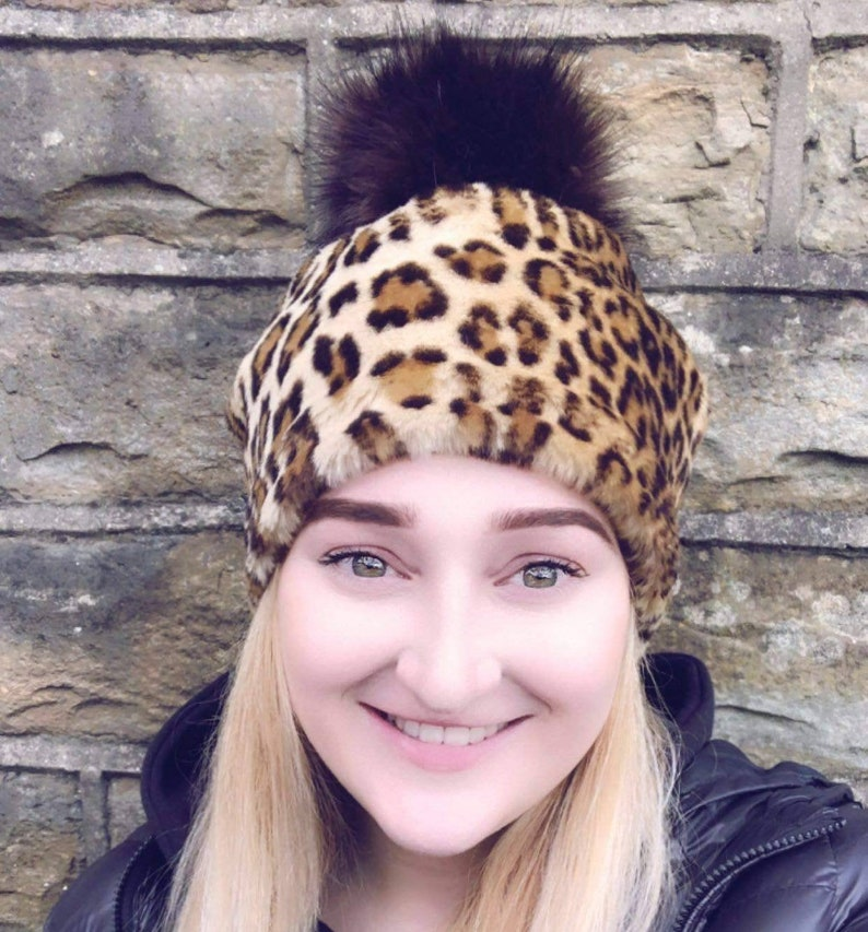 Leopard Print Faux Fur Pom Pom Hat-Fully Lined with Polar Fleece-Pom Pom-Fake Fur Hat-Cream Hat-Ladies Winter Hat-Fleece Hat-Animal Print