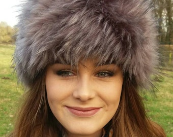 Grey Faux Fur Hat with Cosy Polar Fleece Lining