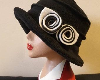 Black Polar Fleece Hat-Cosy Fleece Lining-Black and White Flowers-Downton Abbey-Peaky Blinders-Cloche Hat-Black Fleece Hat-Black Winter Hat