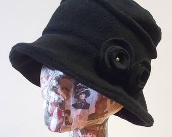 Cosy Black Fleece Hat with Pearly Flowers and Fleece Lining