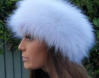 Long Ice White Faux Fur Headband-Neckwarmer-Earwarmer-Head Wrap-Fur Head Wrap-Handmade in Lancashire England
