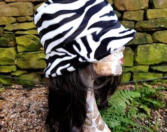 Zebra Print Short Faux Fur Bucket Hat-Fleece Lining-Furry Bucket Hat-Animal Print Bucket Hat-Festival Hat-Black White Bucket Hat-Rave Hat