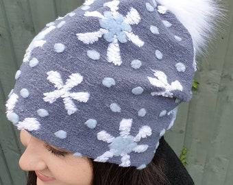 Snowflake Pattern Bouclé Slouchy Hat Large White Pom Pom-Fully lined with Polar Fleec-Fur Pom Pom Hat-Womens Fleece Hat-Faux Fur Pom Pom