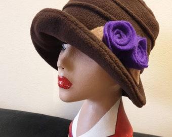 Chocolate Brown Fleece Cloche Hat with Purple Flowers-Fleece Lining-Downton Abbey Hat-Womens Fleece Hat-Ladies Winter Hat-Brown Polar Fleece