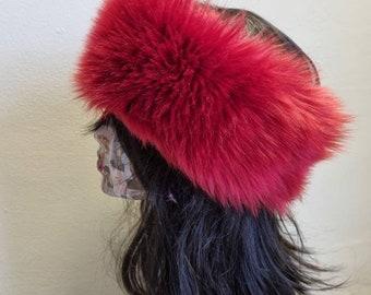 Beautiful Red Faux Fur Headband- Red Fur Headband- Red Headwrap Furry- Red furry headband- Made in England- Red Fake Fur Headband